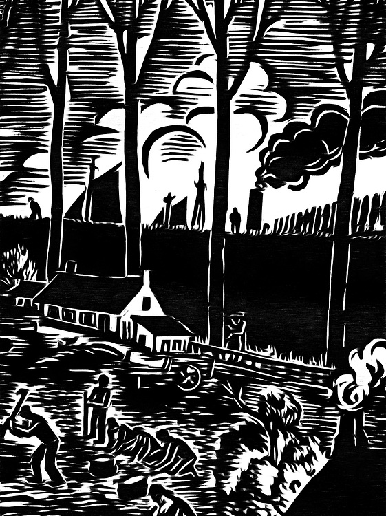 A black / white drawing of a men harvesting behind the dike