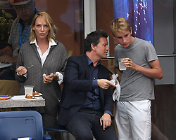 Uma Thurman seen watching Rafael Nadal Vs Andrey Rublev on Arthur Ashe Stadium during the US Open at the USTA Billie Jean King National Tennis Center on September 6, 2017 in Flushing Queens. 06 Sep 2017 Pictured: Uma Thurman, Levon Roan Thurman-Hawke. Photo credit: MPI04/Capital Pictures / MEGA TheMegaAgency.com +1 888 505 6342