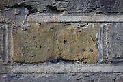 Detailof yellow London brick stock laid in English Garden Bond on a south London Edwardian house.