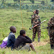 CNDP soldiers in rebel held territory outside of Goma. Fighting escalated in recent weeks between the rebel group CNDP, the National Congress for the Defense of the People, and the Congolese army, displacing tens of thousands of people.