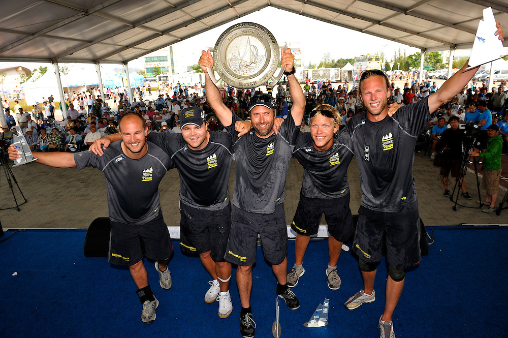 Bjorn Hansen and his crew celebrate after winning the Korea Match Cup. Photo:Chris Davies/WMRT