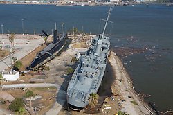 Stock photo of the USS Stewart at Seawolf Park tilted over from the forces of Hurricane Ike