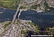 aerial photograph of The Tamar Bridges including   Brunel's Royal Albert Bridge,  Saltash Plymouth   Plymouth Devon , England UK