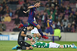 December 5, 2017 - Barcelona, Catalonia, Spain - Paco Alcacer of FC Barcelona and RUI PATRICIO of Sporting CP look at the ball while JEREMY MATHIEU of Sporting CP (background) looks dejected after scoring an own goal during the UEFA Champions League, Group D football match between FC Barcelona and Sporting CP on December 5, 2017 at Camp Nou stadium in Barcelona, Spain. (Credit Image: © Manuel Blondeau via ZUMA Wire)