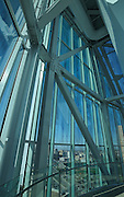 Canadian Museum for Human Rights (CMHR). Looking outside from the interior of Observation Platform of the 'Tower of Hope'<br /> Winnipeg<br /> Manitoba<br /> Canada