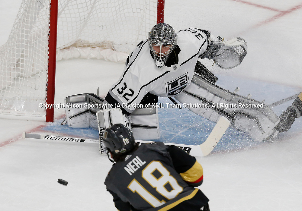 LAS VEGAS, NV - APRIL 11: Vegas Golden Knights left wing James Neal (18) takes a shot against Los Angeles Kings goaltender Jonathan Quick (32) during Game One of the Western Conference First Round of the 2018 NHL Stanley Cup Playoffs between the L.A. Kings and the Vegas Golden Knights Wednesday, April 11, 2018, at T-Mobile Arena in Las Vegas, Nevada. The Golden Knights won 1-0.  (Photo by: Marc Sanchez/Icon Sportswire)