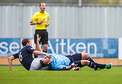 Falkirk's Will Vaulks in action with Dundee's Steven Doris.<br /> Falkirk 3 v 1 Dundee, 21/9/2013.<br /> &copy;Michael Schofield.