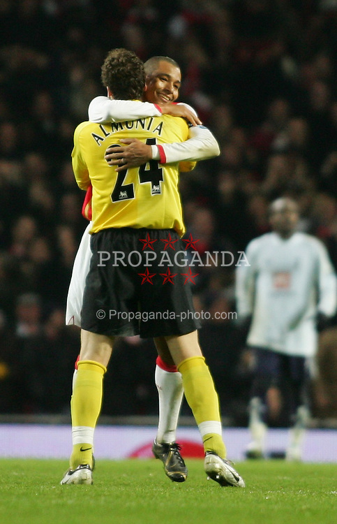 LONDON, ENGLAND - Wednesday, January 31, 2007: Arsenal's goalkeeper Manuel Almunia celebrates his side's 3-1 victory over Tottenham Hotspur with Jeremie Aliadiere during the Football League Cup Semi-Final 2nd Leg at the Emirates Stadium. (Pic by Chris Ratcliffe/Propaganda)