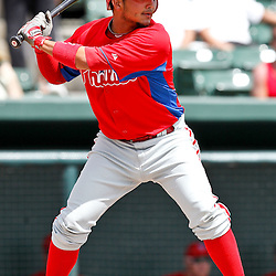 March 20, 2012; Sarasota, FL, USA; Philadelphia Phillies shortstop Freddy Galvis (13) at bat against the Baltimore Orioles during a spring training game at Ed Smith Stadium.  Mandatory Credit: Derick E. Hingle-US PRESSWIRE