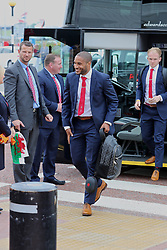 CARDIFF, WALES - Saturday, June 4, 2016: Wales' captain Ashley Williams arrives at Cardiff Airport ahead of the team's departure to Sweden and onto the European Championships 2016 in France. (Pic by David Rawcliffe/Propaganda)