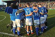 The Rochdale players wait nervously for the final whistle at Northampton during the EFL Sky Bet League 1 match between Rochdale and Charlton Athletic at Spotland, Rochdale, England on 5 May 2018. Picture by Daniel Youngs.
