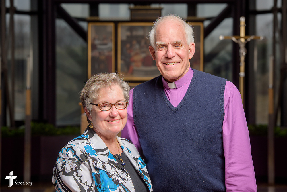 Portrait of Rev. Ron and Mary Anne Rall, LCMS career missionaries to Papua New Guinea, following a Service of Sending for new missionaries on Friday, March 16, 2018, in the chapel of the International Center of The Lutheran Church–Missouri Synod in St. Louis.  LCMS Communications/Erik M. Lunsford