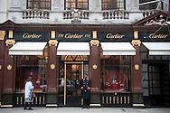 Cartier Jewelers on Old Bond Street, Mayfair, London, UK.