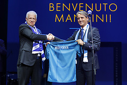 June 13, 2017 - Saint Petersburg, Russia - June 13, 2017. - Russia, Saint Petersburg. - FC Zenit's head coach Roberto Mancini (right) and Sergey Fursenko, FC Zenit president and chairman of the management board, are seen here at the Leningrad Center in St. Petersburg during Mancini's introduction. (Credit Image: © Russian Look via ZUMA Wire)