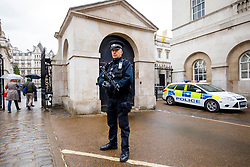 © Licensed to London News Pictures. 27/04/2017. London, UK. An armed police officer protects Horse Guards Parade after a man was arrested carrying what is reported to be a bag of knives on Whitehall in Westminster, central London on 27 April 2017. Photo credit: Tolga Akmen/LNP