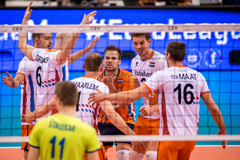 20-05-2018 NED: Netherlands - Slovenia, Doetinchem<br /> First match Golden European League / (L-R) Robbert Andringa #18 of Netherlands, Jasper Diefenbach #6 of Netherlands, Thijs ter Horst #4 of Netherlands, Dirk Sparidans #5 of Netherlands, Maarten van Garderen #3 of Netherlands, Wouter ter Maat #16 of Netherlands