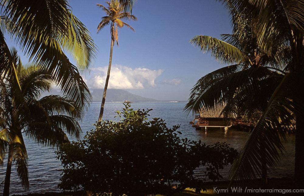 Oceania, South Pacific, French Polynesia, Tahiti. Peek at overwater bungalows on island of Tahiti.