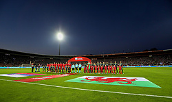 BELGRADE, SERBIA - Sunday, June 11, 2017: Serbia and Wales stand for the national anthems during the 2018 FIFA World Cup Qualifying Group D match between Wales and Serbia at the Red Star Stadium. (Pic by David Rawcliffe/Propaganda)