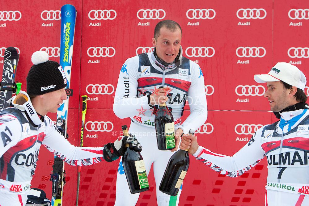 18.12.2011, Gran Risa, Alta Badia, ITA, FIS Weltcup Ski Alpin, Herren, Riesentorlauf Podium, im Bild v.l.n.r. Hannes Reichelt (AUT, Rang 2), Massimiliano Blardone (ITA, Rang 1) und Philipp Schoerghofer (AUT, Rang 3) // second Place Hannes Reichelt of Austria, first place Massimiliano Blardone of Italy and dirt place Philipp Schoerghofer of Austria on Podium after men's giant Slalom 2nd run at FIS Ski Alpine Worldcup at Gran Risa in Alta Badia, Italy on 2011/12/18. EXPA Pictures © 2011, PhotoCredit: EXPA/ Johann Groder