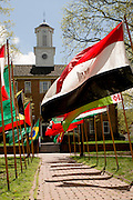Flags representing the nations of Ohio University's students decorate College Green during International Week. International Week was held from Sunday, April 14 through Saturday, April 20, 2013.