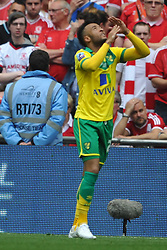 Norwich Nathan Redmond, Celebrates after scoring Norwich Second Gopal, Middlesbrough v Norwich, Sky Bet Championship, Play Off Final, Wembley Stadium, Monday  25th May 2015