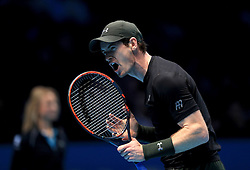Andy Murray in his match against Milos Raonic during day seven of the Barclays ATP World Tour Finals at The O2, London.