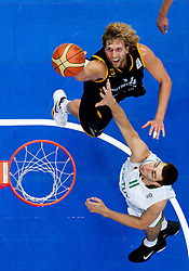 Dirk Nowitzki of Germany vs Jonas Valanciunas of Lithuania during basketball game between National basketball teams of Lithuania and Germany at FIBA Europe Eurobasket Lithuania 2011, on September 11, 2011, in Siemens Arena,  Vilnius, Lithuania. Lithuania defeaed Germany 84-75. (Photo by Vid Ponikvar / Sportida)