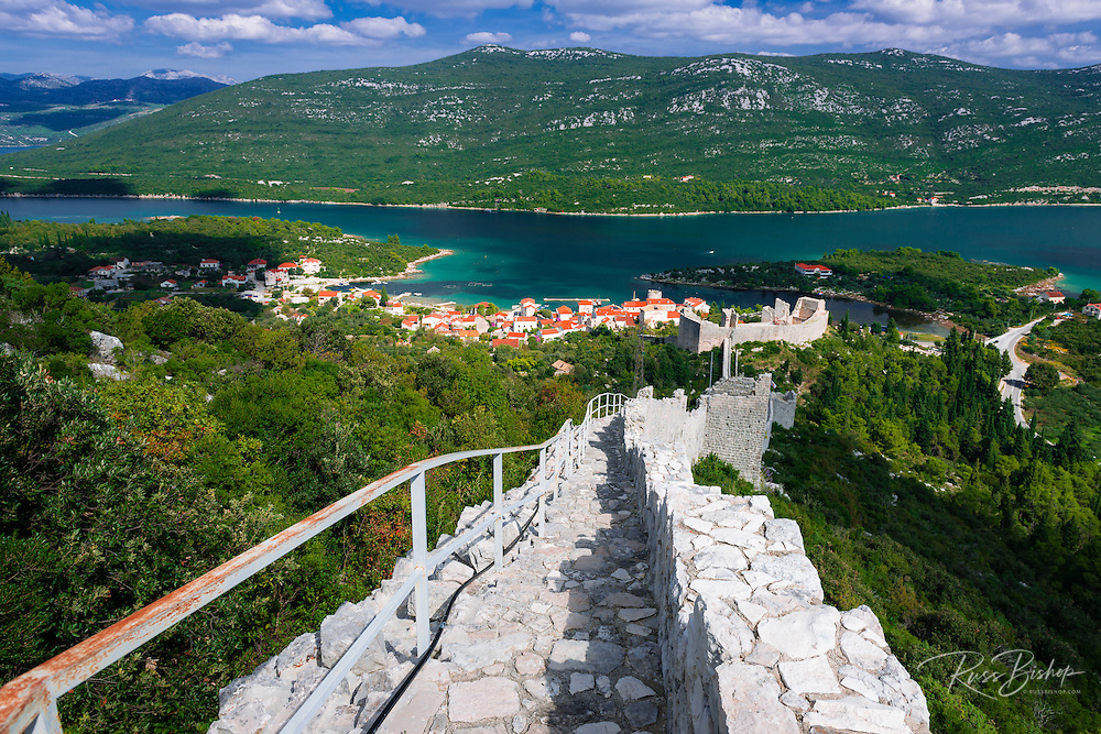 The Great Wall above Mali Ston and the Adriatic, Ston, Dalmatian Coast, Croatia