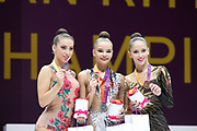 Dina Averina takes gold medal on ribbon ahead of Katrin Taseva and Neviana Vladinova, both of Bulgaria during the 33rd European Rhythmic Gymnastics Championships at Papp Laszlo Budapest Sports Arena, Budapest, Hungary on 21 May 2017. Linty Ashram, Israel, wins bronze. Photo by Myriam Cawston.