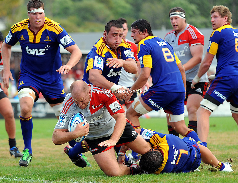 Crusaders Ben Franks goes for the line during their Super Rugby Pre-season game Crusaders v Highlanders. Rugby Park, Greymouth, New Zealand. Friday 3 February 2012. Photo: Chris Symes/www.photosport.co.nz