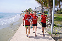 LARNACA, CYPRUS - Tuesday, March 6, 2018: Wales' Melissa Fletcher, Rachel Rowe and Kayleigh Green during a team walk around the Palm Beach Hotel & Bungalows in Larnaca on day eight of the Cyprus Cup tournament. (Pic by David Rawcliffe/Propaganda)