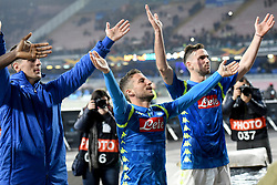 March 7, 2019 - Naples, Naples, Italy - Arkadiusz Milik, Dries Mertens e Fabian Ruiz of SSC Napoli  celebrate at the end of the UEFA Europa League match between SSC Napoli and RB Salzburg at Stadio San Paolo Naples Italy on 7 March 2019. (Credit Image: © Franco Romano/NurPhoto via ZUMA Press)