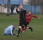 Fintry Athletic's John Penman celebrates after firing home the opening goal during his side's last 16 Scottish Cup clash with Medda Sports - Dundee Sunday Amateur Football<br /> <br />  - &copy; David Young - www.davidyoungphoto.co.uk - email: davidyoungphoto@gmail.com
