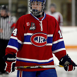 STOUFFVILLE, ON - Jan 2 : Ontario Junior Hockey League Game Action between the Stouffville Spirit Hockey Club and the Toronto Junior Canadians Hockey Club.  Jake Walman #14 of the Toronto Canadiens Hockey Club during second period game action.<br /> (Photo by Michael DiCarlo / OJHL Images)