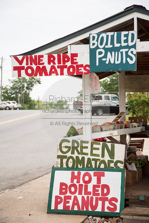 A farm stand in the historic downtown where Franklin Delano Roosevelt kept his vacation home known as the Little White House in Warm Springs, Georgia.