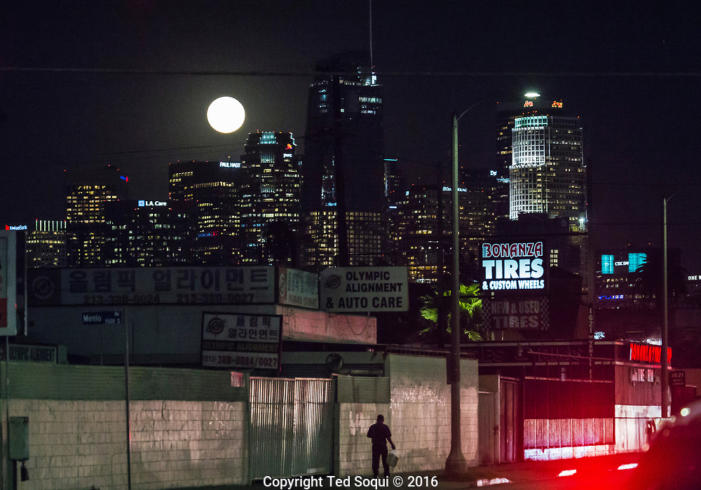 The largest supermoon in 69 years rose above Los Angeles this Monday evening.