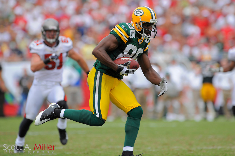 Tampa, Florida, Sept. 28, 2008: Green Bay Packers wide receiver Greg Jennings (85) in action against the Tampa Bay Buccaneers at Raymond James Stadium....©2008 Scott A. Miller