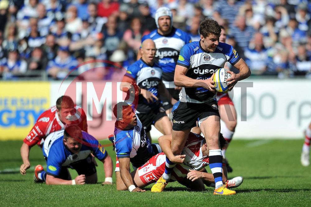 Ollie Devoto of Bath Rugby takes on the Gloucester defence - Photo mandatory by-line: Patrick Khachfe/JMP - Mobile: 07966 386802 16/05/2015 - SPORT - RUGBY UNION - Bath - The Recreation Ground - Bath Rugby v Gloucester Rugby - Aviva Premiership