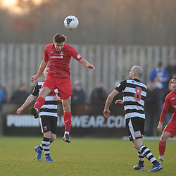 TELFORD COPYRIGHT MIKE SHERIDAN Ryan Barnett of Telford battles for a header during the Vanarama Conference North fixture between Darlington and AFC Telford United at Blackwell Meadows on Saturday, November 30, 2019.<br /> <br /> Picture credit: Mike Sheridan/Ultrapress<br /> <br /> MS201920-032
