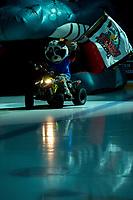 KELOWNA, BC - DECEMBER 18: Kelowna Rockets' mascot Rocky Raccoon enters the ice on his Polaris Sportsman ATV against the Vancouver Giants at Prospera Place on December 18, 2019 in Kelowna, Canada. (Photo by Marissa Baecker/Shoot the Breeze)
