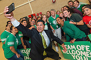 Houston ISD Superintendent Richard Carranza poses for a photograph with Garden Oaks elementary School students and staff during a stop of the Listen & Learn tour at Black Middle School, September 20, 2016.