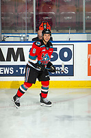 KELOWNA, BC - DECEMBER 18:  Trevor Wong #8 of the Kelowna Rockets warms up on the ice against the Vancouver Giants at Prospera Place on December 18, 2019 in Kelowna, Canada. (Photo by Marissa Baecker/Shoot the Breeze)