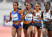 Hellen Obiri (KEN) defeats Genzebe Dibaba (ETH) to win the women's 3,000m, 8:25.60 to 8:26.20, during the IAAF Doha Diamond League 2019 at Khalifa International Stadium, Friday, May 3, 2019, in Doha, Qatar (Jiro Mochizuki/Image of Sport)