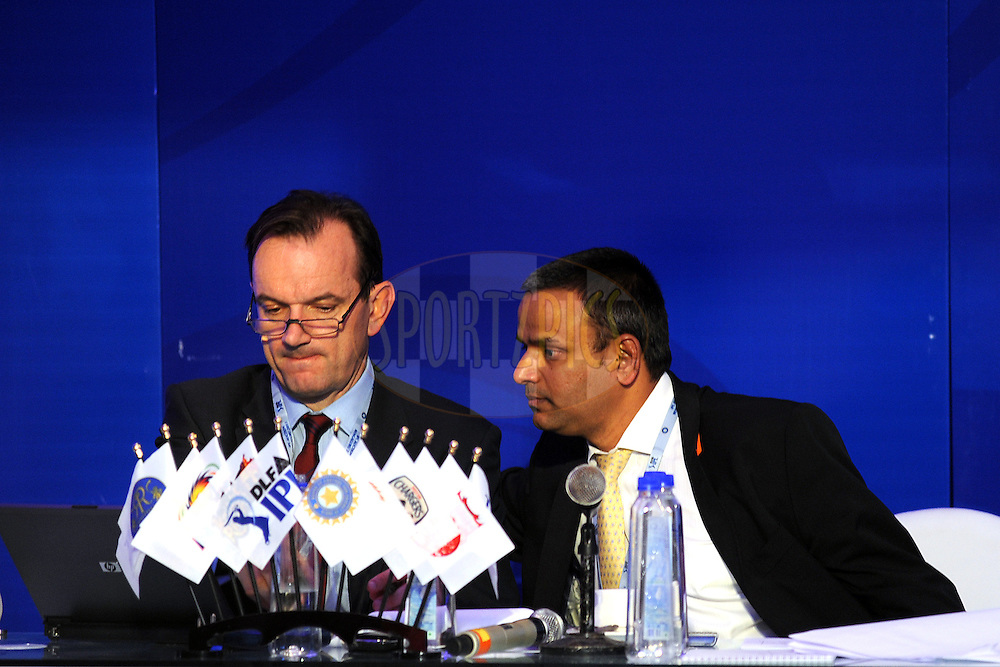 Sundar Raman CEO of IPL is seen with an Official during the 2011 IPL (Indian Premier League ) Player Auction held in Bengaluru, Bangalore, Karnataka, India on the 8th and 9th January 2011..Photo by Pal Pillai/BCCI/SPORTZPICS