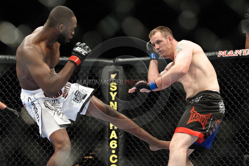"LAS VEGAS, NEVADA. JULY 11, 2009: Jone Jones and Jake O'Brien during ""UFC 100: Making History"" inside the Mandalay Bay Events Center in Las Vegas, Nevada."