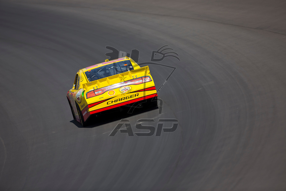 BROOKLYN, MI - JUN 14, 2012:  A.J. Almendinger (22) brings his car through the turns during the second test session for the Quicken Loans 400 at the Michigan International Speedway in Brooklyn, MI.