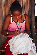 Madagascar, Nosy Komba Island Traditional embroidered tablecloths made by the local women