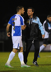 Bristol Rovers Manager Darrell Clarke speaks with Lee Brown of Bristol Rovers after the game - Mandatory byline: Dougie Allward/JMP - 07966 386802 - 06/10/2015 - FOOTBALL - Memorial Stadium - Bristol, England - Bristol Rovers v Wycombe Wanderers - JPT Trophy