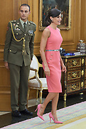 Queen Letizia of Spain attends an audience with Ona Carbonell at Zarzuela Palace on July 23, 2019 in Madrid, Spain