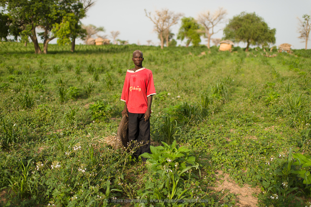 A deaf member of a detail working on cleaning up the village of Kanwa-Maraki in the Zinder Region of Niger on 25 July 2013 is seen after dumping a load of green waste on the outskirts of the village.
